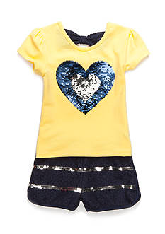 Flapdoodles Sequin Heart and Short 2-Piece Set Girls 4-6x