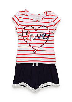 Flapdoodles Love Short Set Girls 4-6X