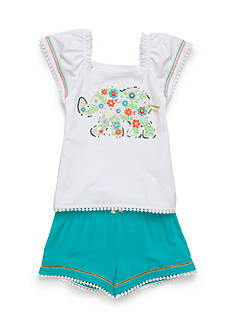Flapdoodles Boho Elephant Short Set Girls 4-6X