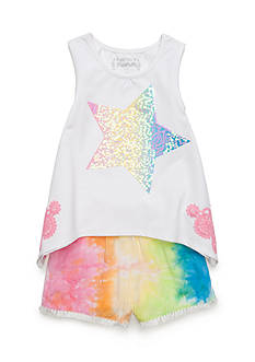Flapdoodles Tie Dye Star Short Set Girls 4-6X