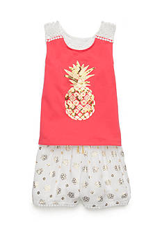 Flapdoodles Pineapple Short Set Girls 4-6X