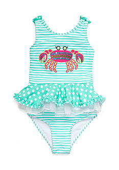 Flapdoodles 2-Piece Crab Stripe Tankini Girls 4-6x