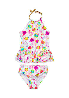 Flapdoodles Tie Dye Hearts 2-Piece Swimsuit Girls 4-6X