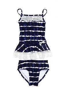 Flapdoodles Tie Dye & Crochet 2-Piece Tankini Girls 4-6X