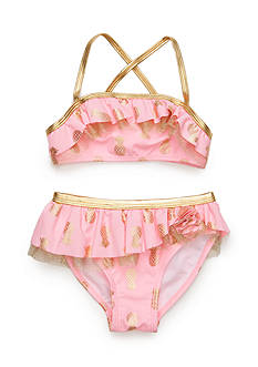 Flapdoodles Gold Pineapple 2-Piece Girls 4-6X