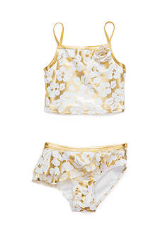 Flapdoodles Gold Hibiscus 2-Piece Swimsuit Girls 4-6X
