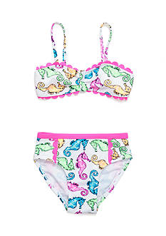 Flapdoodles 2-Piece Seahorse Bikini Set Girls 4-6x
