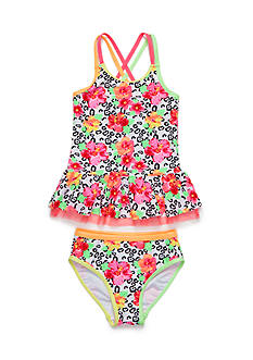 Flapdoodles 2-Piece Tropical Leopard Tankini Set Girls 4-6X