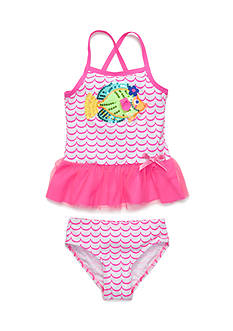 Flapdoodles Fish Fun 2-Piece Swimsuit Girls 4-6X