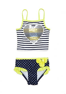 Flapdoodles 2-Piece Nautical Tankini Set Girls 4-6x
