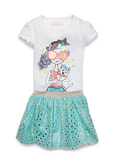 Flapdoodles 2-Piece Chic Girl & Pup Gold Foil Scooter Set Girls 4-6x