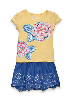 Flapdoodles Floral Laser Chiffon Scooter Set Girls 4-6X