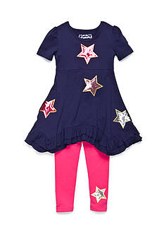 Flapdoodles Star Sparkle Dress Set Girls 4-6X