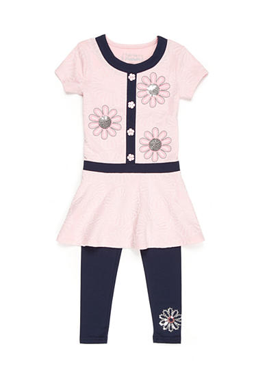 Flapdoodles 2-Piece Daisy Colorblock Dress and Legging Set Girls 4-6x