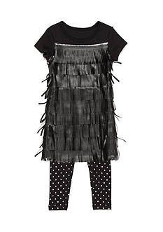 Flapdoodles 2-Piece Fringe Sequin Dress and Dot Legging Set Girls 4-6x