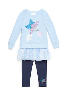 Flapdoodles Stars French Terry Dress Set Girls 4-6x