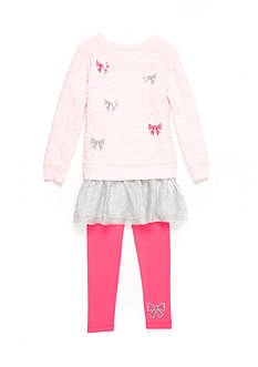 Flapdoodles Bow French Terry Dress Set Girls 4-6x