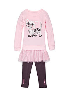 Flapdoodles Pretty Kitty French Terry Dress Set Girls 4-6x