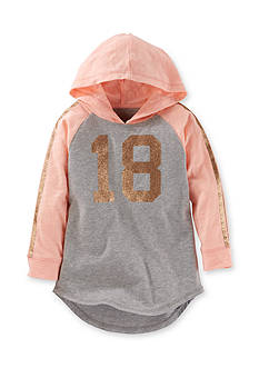 OshKosh B'gosh Long Sleeve Hooded Sparkle Varsity Tunic Girls 4-6x