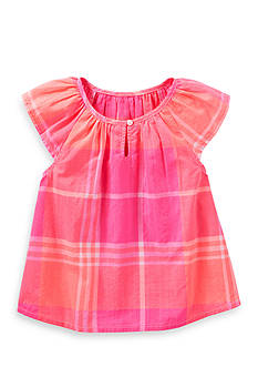 OshKosh B'gosh Plaid Print Poplin Top Girls 4-6x