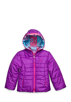 Pacific Trail Solid to Fair Isle Reversible Puffer Jacket Girls 4-6x