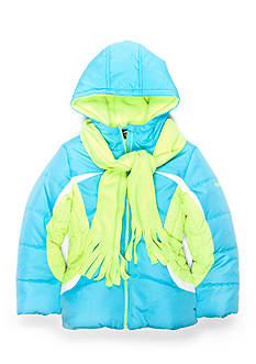 Pacific Trail Colorblock Puffer Coat and Scarf Set Girls 4-6x