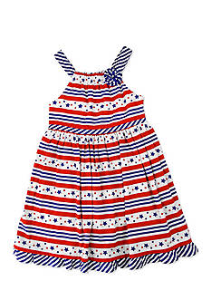 Nannette Patterned Stars and Stripes Dress Girls 4-6x