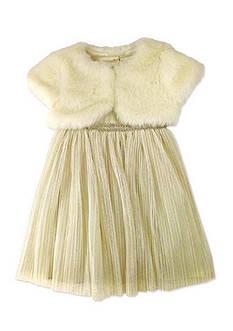 Nannette Glitter Mesh Dress with Shrug Girls 4-6x