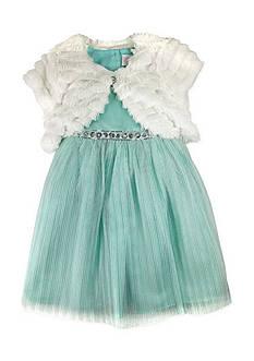 Nannette Faux Fur Shrug Glitter Mesh Dress Girls 4-6x