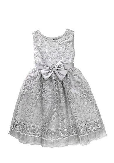 Nannette Metallic Lace Dress Girls 4-6x