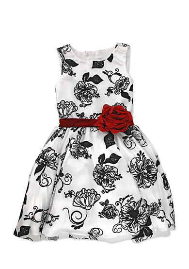 Nannette Flocked Jacquard Mesh Dress Girls 4-6x