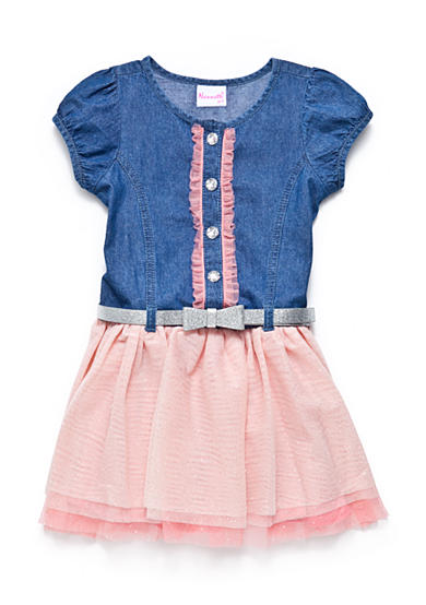 Nannette Denim Drop Waist Dress with Tulle Skirt 4-6X Girls