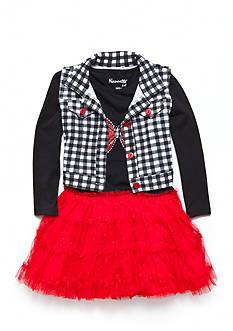 Nannette 2-Piece Red Bow Vest Dress Set Girls 4-6X