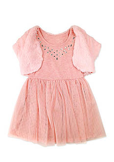 Nannette Faux Fur Shrug Soft Mesh Dress Girls 4-6x