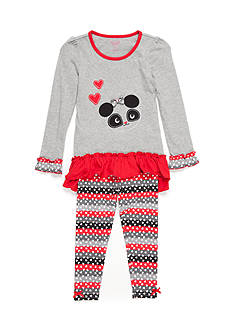 Nannette Ruffle Panda Tunic and Legging 2-Piece Set Girls 4-6x