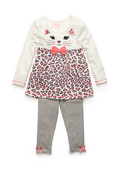 Nannette 2-Piece Kitty Face Tunic and Leggings Set Girls 4-6x