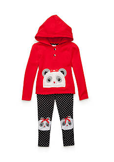 Nannette Fleece Panda Legging Set Girls 4-6x