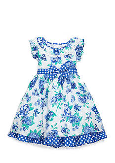 Nannette Floral Swiss Dot Dress Girls 4-6x