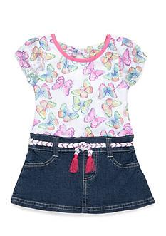 Nannette Butterfly Denim Dress Girls 4-6x