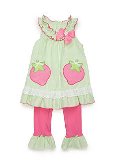 Nannette Strawberry Seersucker Tunic and Legging 2-Piece Set Girls 4-6x