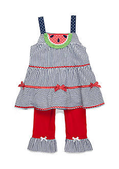 Nannette Watermelon Seersucker Tunic and Legging 2-Piece Set Girls 4-6x