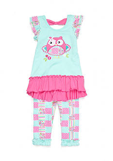Nannette Owl Patchwork 2-Piece Legging Set Girls 4-6x