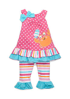 Nannette Polka Dot Crab Tunic and Legging Set Girls 4-6x