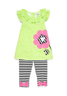 Nannette Flower Tunic and Leggings 2-Piece Set Girls 4-6x