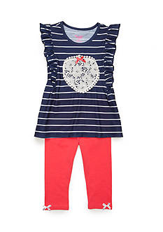 Nannette Stripe Heart Tunic and Legging 2-Piece Set Girls 4-6x