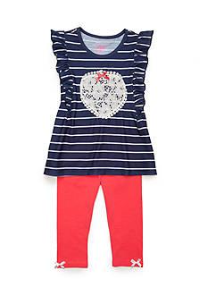 Nannette Stripe Heart Tunic and Legging 2-Piece Set Girls 4-6x