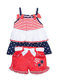Nannette Patriotic Tiered Top and Short 2-Piece Set Girls 4-6x