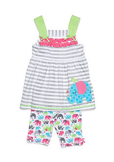 Nannette Elephant Top and Short 2-Piece Set Girls 4-6x