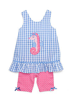 Nannette Seersucker Seahorse Top and Short Set Girls 4-6x