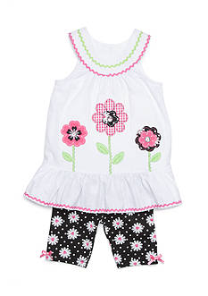 Nannette Seersucker Daisy Top and Shorts Set Girls 4-6x